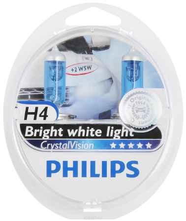 Купить Галогенная автомобильная лампа H4 12V- 60/55W (P43t) (белый яркий свет) Crystal Vision +W5W 12V-5W (W2,1x9,5d) Crystal Vision (по 2. 12342CVSM