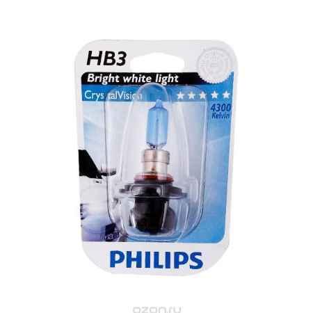 Купить Галогенная автомобильная лампа Philips HB3 12V- 65W (P20d) (белый яркий свет) Crystal Vision блистер (1шт.). 9005CVB1 (бл.)