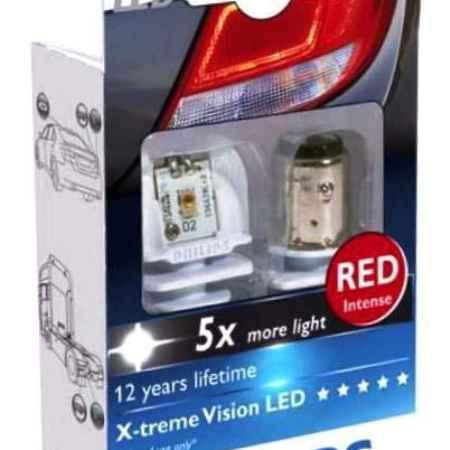 Купить Сигнальная автомобильная лампа Philips P21W 12V/24V-21W (BA15s) RED LED (к.уп.2шт.). 12898 RX2